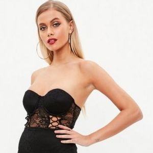 NEW WITH TAGS Black Missguided Lace Bustier Top